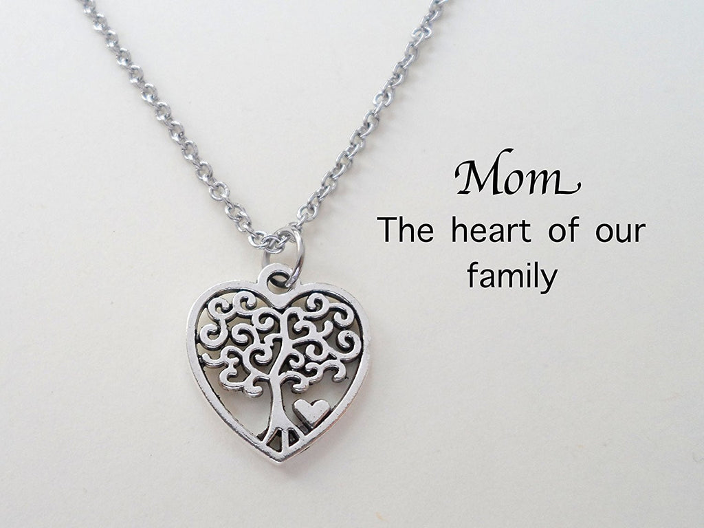 Mom Heart Tree of Life Pendant Necklace - The Heart of our Family