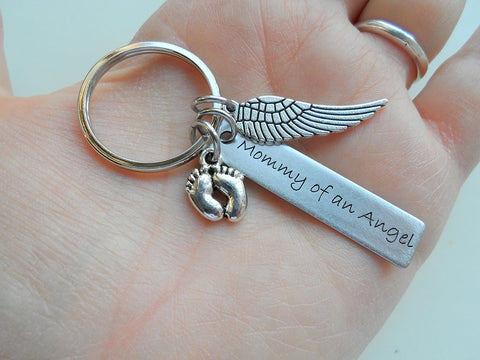 "Baby Memorial Keychain • Engraved ""Mommy of an Angel"" w/ Baby Feet & Wings Charm 