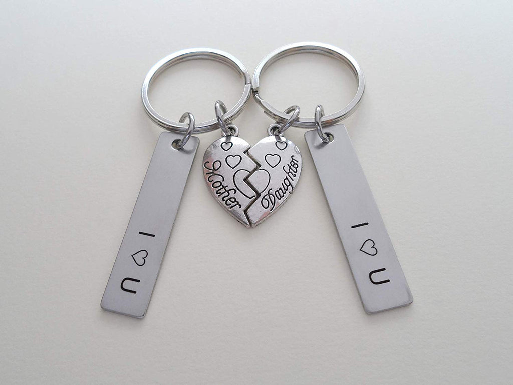 Mother Daughter Connecting Heart Keychain Set, With Engraved I Heart U Tags