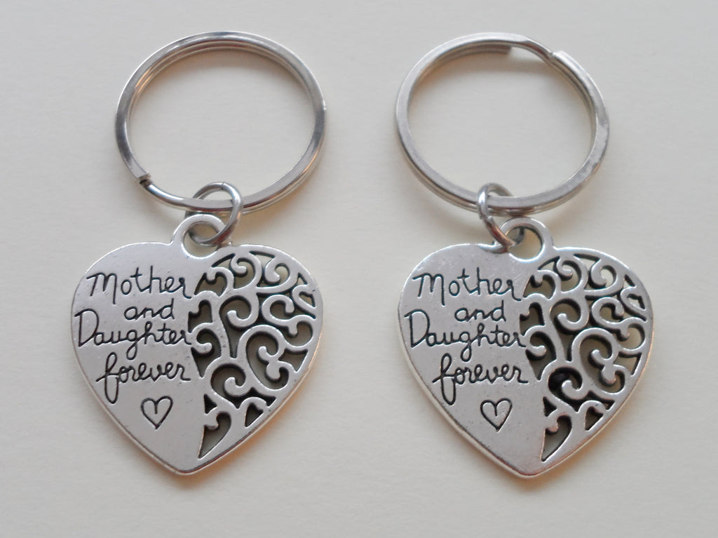 Mother and Daughter Forever Keychain Set, Custom Birthstone Charm Option
