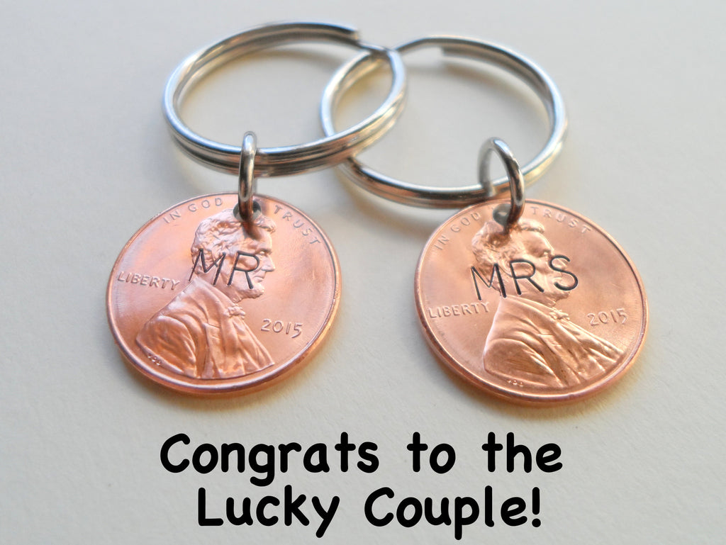Mr and Mrs Hand Stamped 2015 Penny Keychain Set; 3 Year Anniversary Gift, Couples Keychain