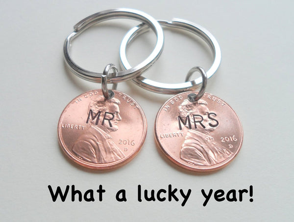 Mr and Mrs 2016 Hand Stamped Penny Couples Keychain Set; 2 Year Anniversary Gift, Couples Keychain