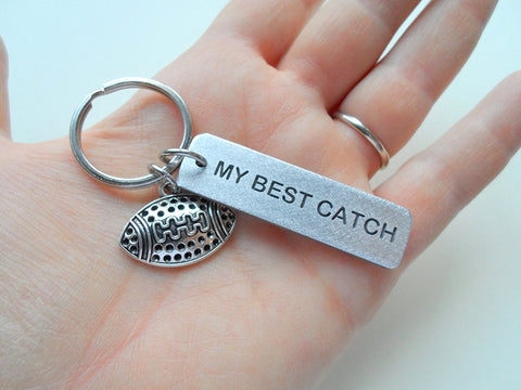 """My Best Catch"" Engraved on Aluminum Tag Keychain and Football Charm Keychain; Couples Keychain"
