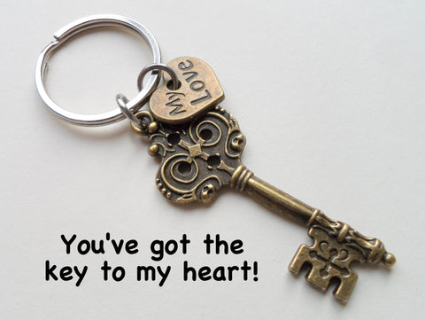 """My Love"" Bronze Key Charm Keychain - You've Got the Key to My Heart; Couples Keychain"