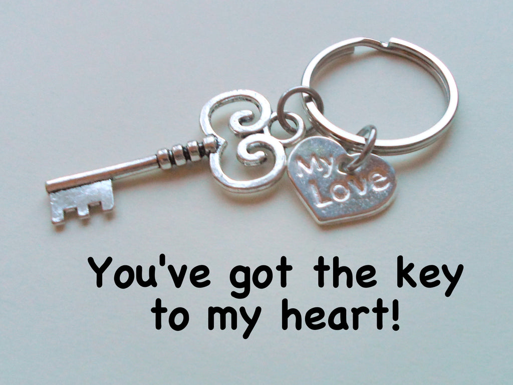 """My Love"" Key Charm Keychain - You've Got the Key to My Heart; Couples Keychain"