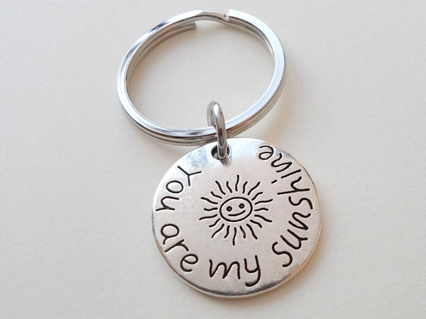 My Sunshine Keychain, Small Sun You Are My Sunshine Saying Charm Keychain