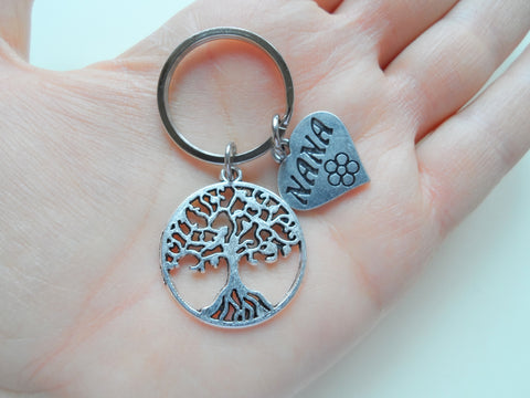 Nana Heart Charm with Tree Charm Keychain for Grandma, Mother's Day Gift