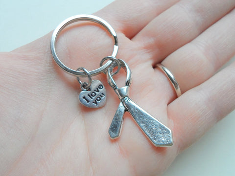 Neck Tie Keychain - Daddy's Love Ties Us Together; Fathers Gift Keychain