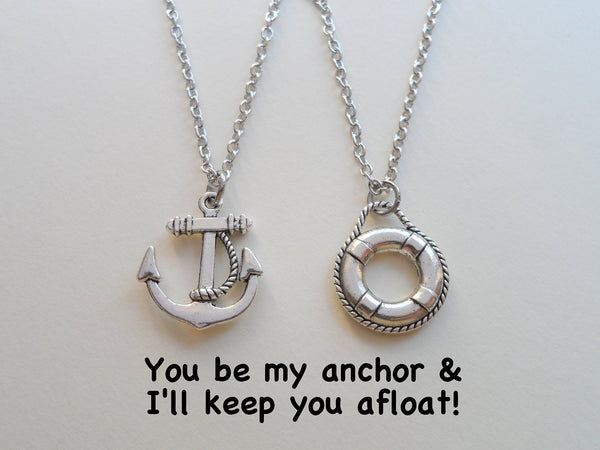Anchor & Lifesaver Necklace Set -You Be My Anchor I'll Keep You Afloat