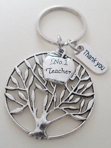 "Teacher Appreciation Gifts • ""Thank You"" Tag, Large Filagree Tree Charm, & #1 Teacher Apple Charm Keychain by JewelryEveryday w/ ""Teachers plant seeds that grow forever!"" Card"