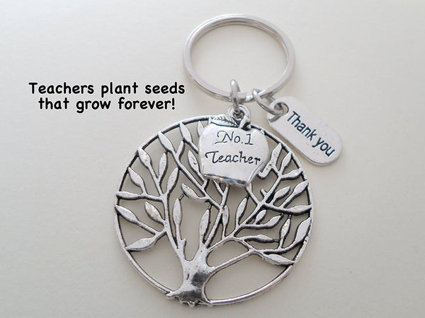 No. 1 Teacher Tree Keychain Appreciation Gift, Thank You Charm with Apple Charm Keychain - Teachers Plant Seeds That Grow Forever