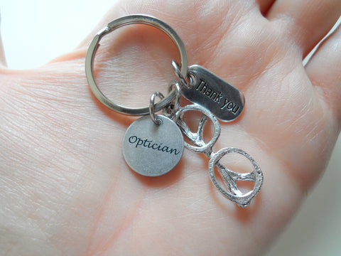 "Employee Appreciation Gifts • Optician Charm Keychain with Eye Glasses & ""Thank You"" Tag by JewelryEveryday w/ ""Thanks for being a part of our team"" Card"