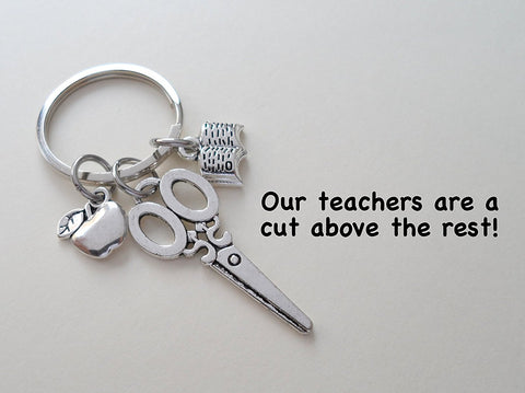 "Teacher Appreciation Gifts • ""Our teachers are a cut above the rest!"" Scissors, Book, & Apple Keychain by JewelryEveryday"