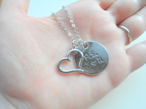 P.S. I Love You Necklace, Disc and Heart Charm Necklace