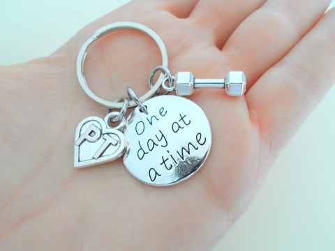 Physical Therapist Appreciation Gift Keychain, Thank You Gift for Physical Therapist, PT, Weight & One Day At a Time Charm