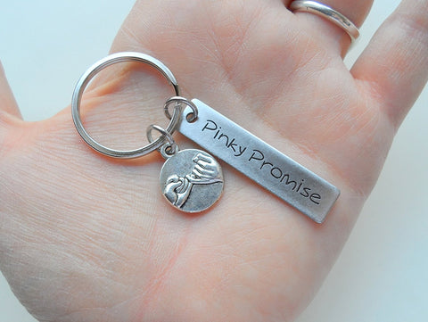 Pinky Promise Charm Keychain With Engraved Rectangle Tag; Couple Keychain, Promise Gift