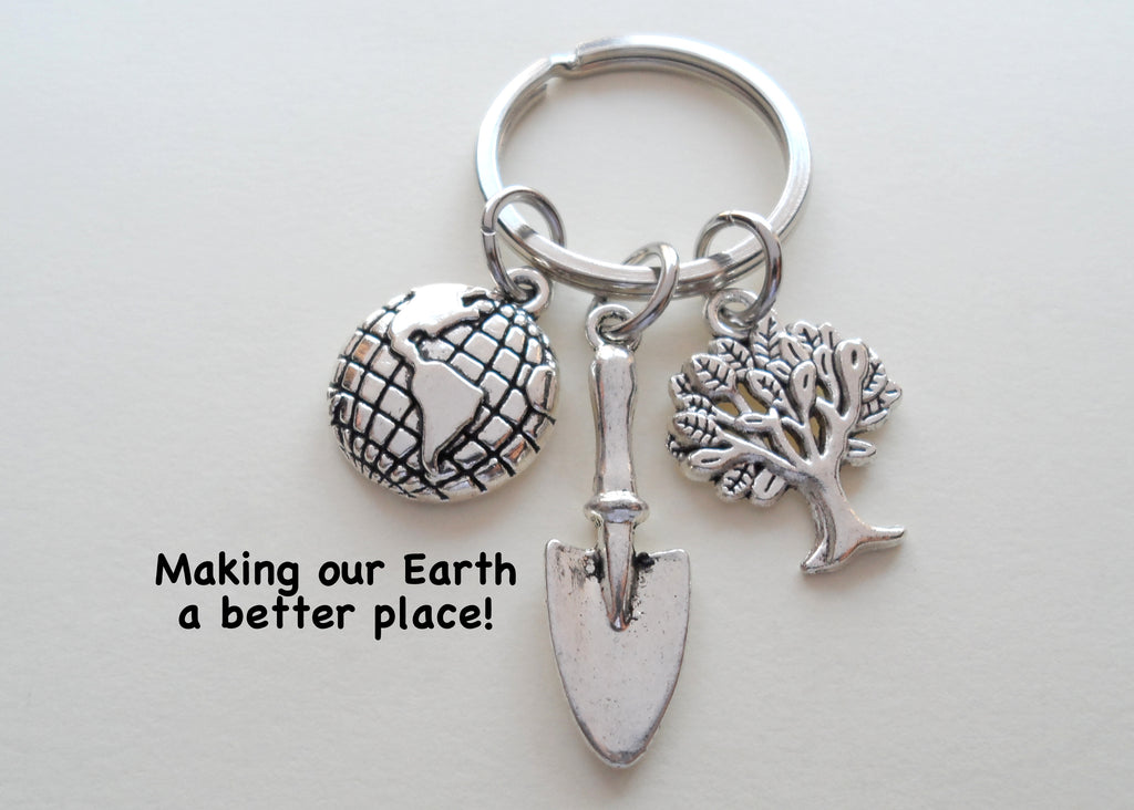 "Volunteer Appreciation Gifts • Planet Earth, Tree & Shovel Charms Keychain by JewelryEveryday w/ ""Making our Earth a better place"" Card"