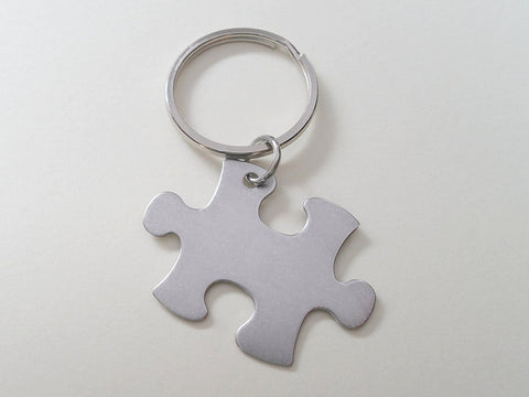 "Employee Appreciation Gifts • Steel Puzzle Keychain by JewelryEveryday w/ ""Thanks for being an essential part of our team!"" Card"