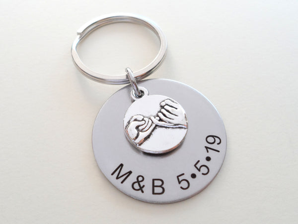 Personalized Pinky Promise Charm Keychain With Engraved Steel Disc Charm; Couple Keychain, Promise Gift