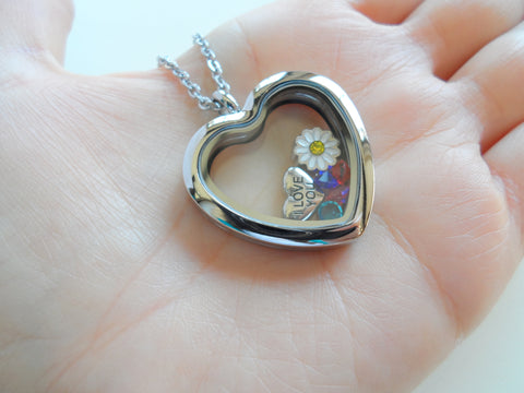 Personalized Large Heart Shaped Memory Locket Necklaces for Mother or Grandma - by Jewelry Everyday