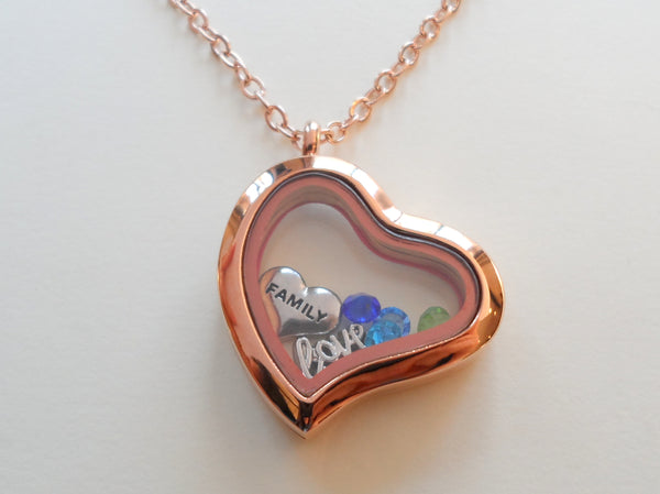 Personalized Rose Gold Side Hung Heart Floating Memory Locket Necklace for Mom or Grandma - by Jewelry Everyday