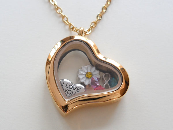 Personalized Gold Side Hung Heart Floating Memory Locket Necklace for Mom or Grandma - by Jewelry Everyday