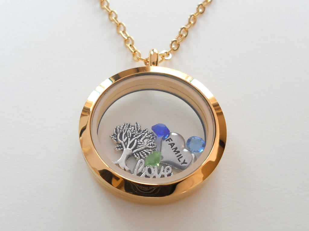Personalized Large Gold Circle Stainless Steel Floating Memory Locket Necklace for Mom or Grandma - by Jewelry Everyday