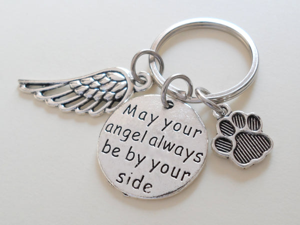 "Wing & Paw Charm Keychain with Saying Disc ""May Your Angel Always Be By Your Side"", Add-on Charm Options"