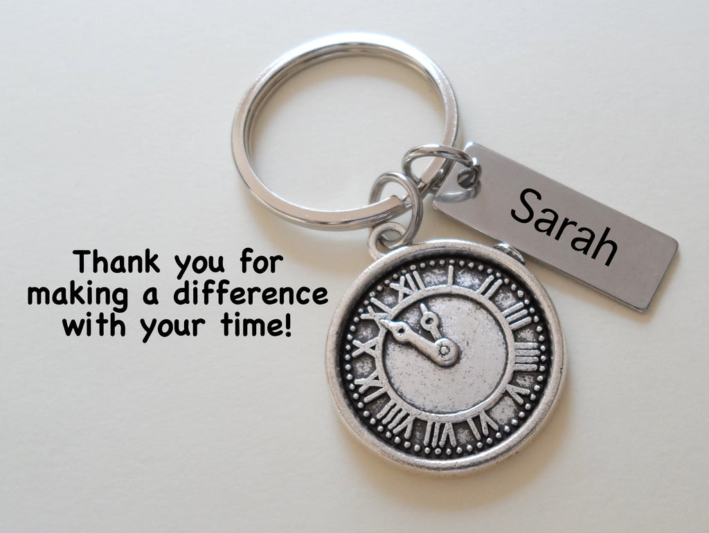 Silver Clock Charm Keychain with Custom Engraved Tag, Employee, Volunteer Appreciation Gifts