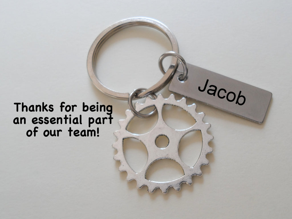 "Employee Appreciation Gifts • Silver Gear Keychain with Custom Engraved Tag by JewelryEveryday w/ ""Thanks for being an essential part of our team!"" Card"
