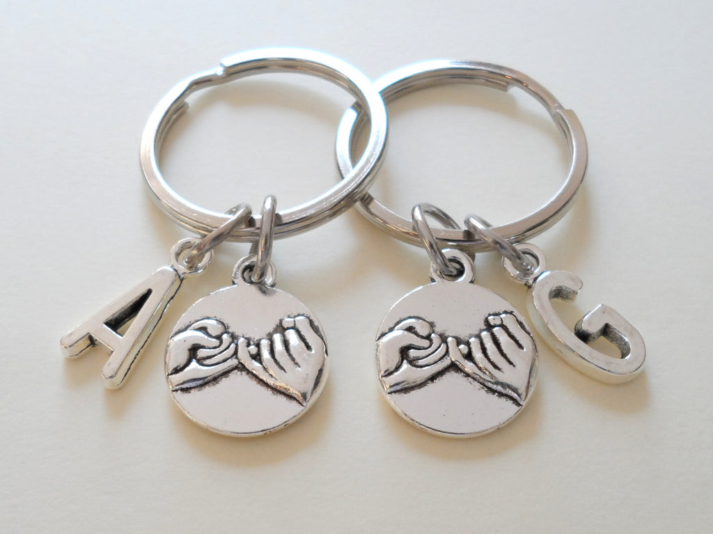 Anniversary Gift | Double Pinky Promise Charm Keychains with Letter Charm Option