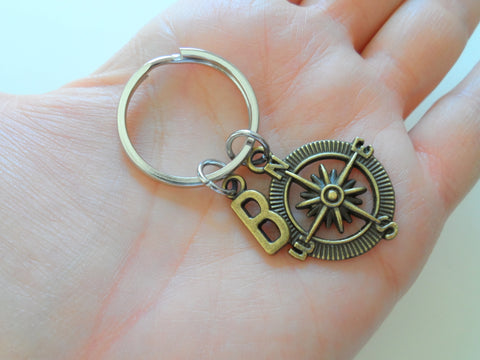 Personalized Double Bronze Compass Keychains With Letter Charms - I'd Be Lost Without You; Couples or Best Friends Keychain Set