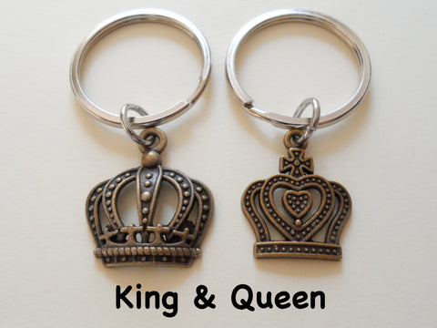 Bronze King and Queen Crown Keychain Set - King & Queen; Couples Keychain Set