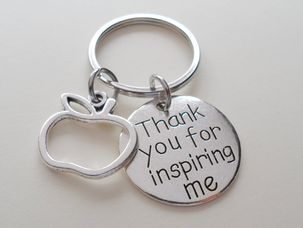 "Teacher Appreciation Gifts • ""Thank you for Inspiring me"" Disc Charm & Apple Charm by JewelryEveryday"