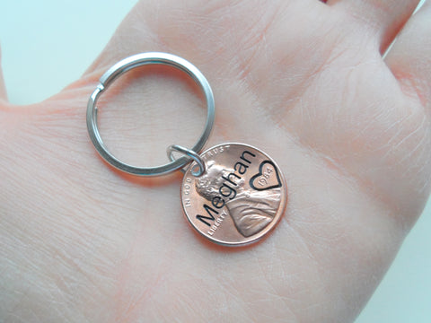 Engraved Name Penny Keychain, Personalized Keychain, Lucky Penny Keychain, Name Key Chain, Gift for Family Members