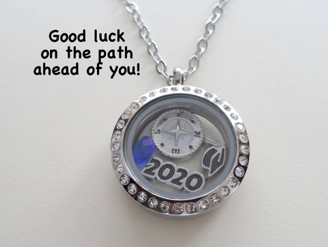 Personalized Compass Floating Graduate Locket Necklace w/ Year and Birthstone - by Jewelry Everyday