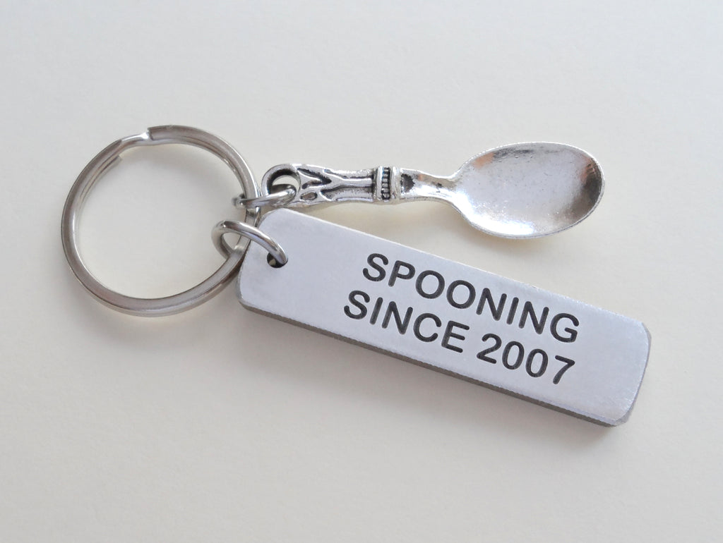 "Custom Engraved ""Spooning Since"" Aluminum Keychain with Spoon Charm, Anniversary Gift, Option to Customize"