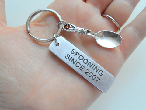 Spooning Since Aluminum Keychain, Custom Engraved Keychain Anniversary Gift with Spoon Charm