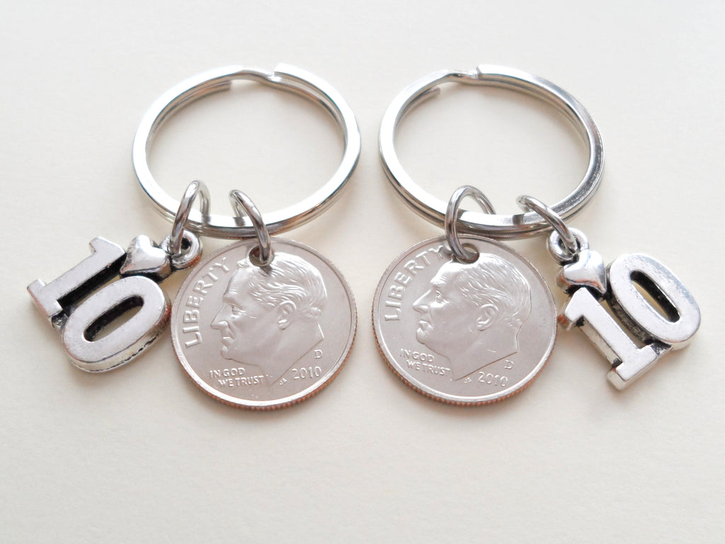10 Year Anniversary Gift • Double Keychain Set 2010 Dime Keychains w/ Number 10 Charm by Jewelry Everyday