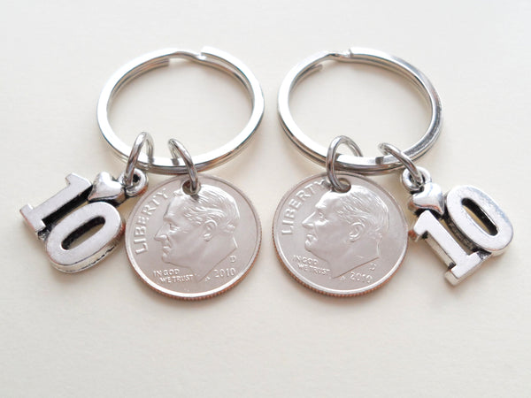 10 Year Anniversary Gift • Double Keychain Set 2011 Dime Keychains w/ Number 10 Charm by Jewelry Everyday