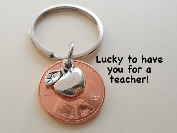 "Teacher Appreciation Gifts • 2020 Penny & Apple Charm Keychain w/ ""Lucky to have you for a teacher!"" Card by JewelryEveryday"