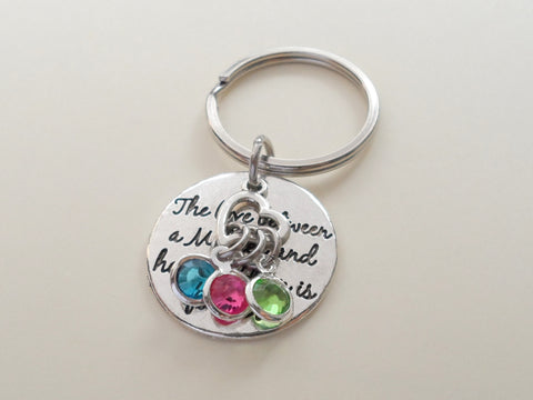 Personalized Mother and Her Children Keychain with Birthstone Charms, Gift for Mom