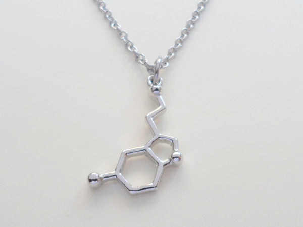 Serotonin Molecule Charm Necklace
