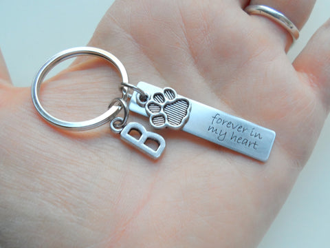 "Dog Memorial Keychain • Engraved ""Forever in my Heart"" w/ Cute Paw Charm 