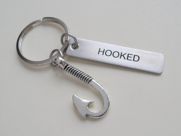 "Stainless Steel Keychain Tag Engraved with ""Hooked"" and Fish Hook Charm; Couples Keychain"