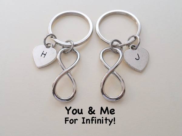 Personalized Double Keychain Set Infinity Symbol Keychain - You and Me for Infinity; Couples Keychain Set
