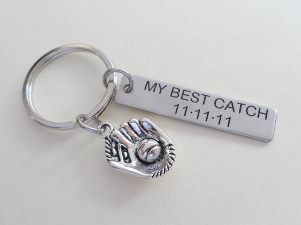 "Personalized ""My Best Catch"" Engraved on Stainless Steel Tag Keychain and Baseball Mitt Charm Keychain; Couples Keychain, Customized"