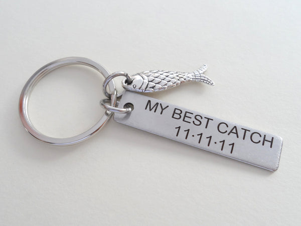 Stainless Steel Keychain Tag Custom Engraved With a Fish Charm; Couples Keychain