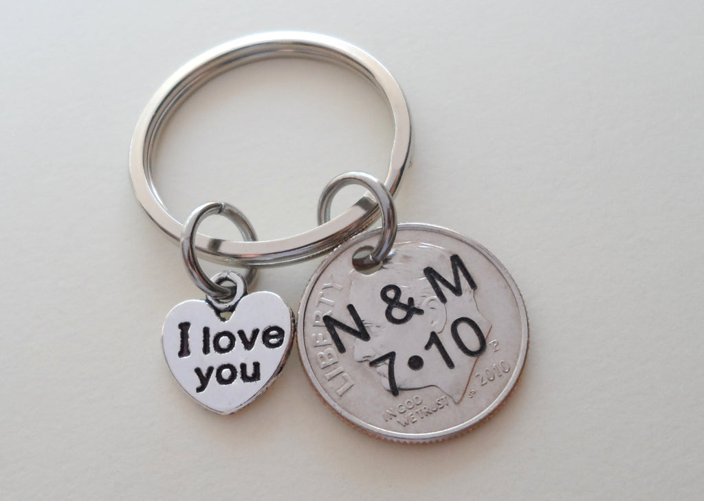 10 Year Anniversary Gift • 2010 Dime Keychain w/ L love You Charm by Jewelry Everyday, Custom Options