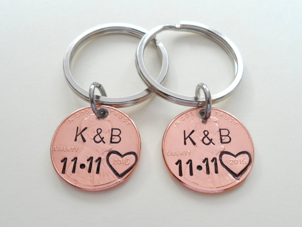 Personalized Double Set Penny Keychains Custom Hand Stamped and Heart Around The Year